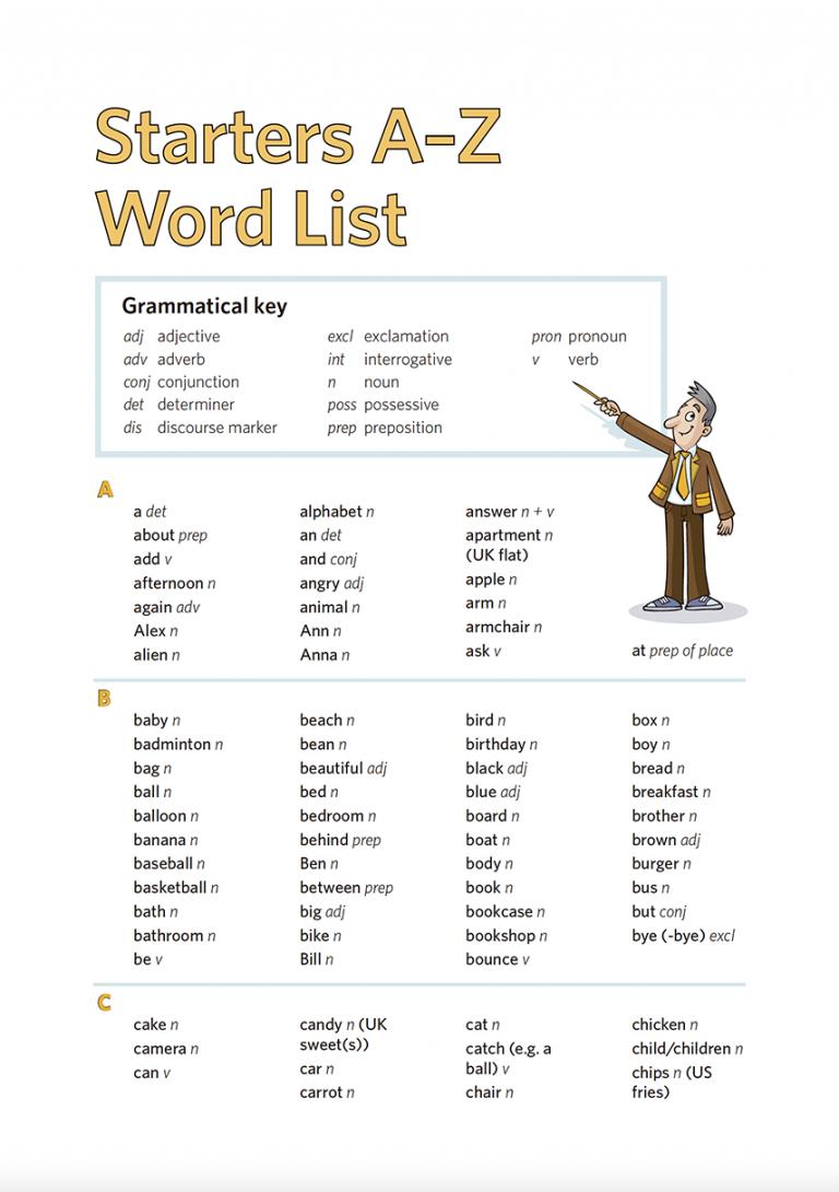 Starters Word List