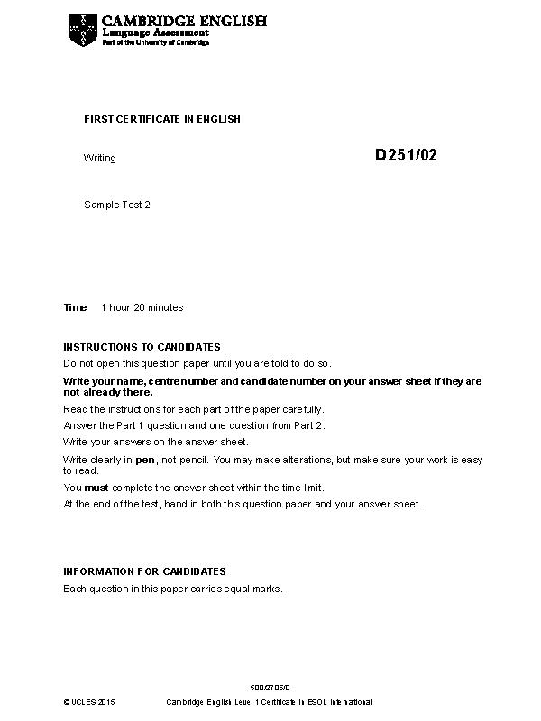 cambridge english first 2015 sample paper 2 writing v2 1